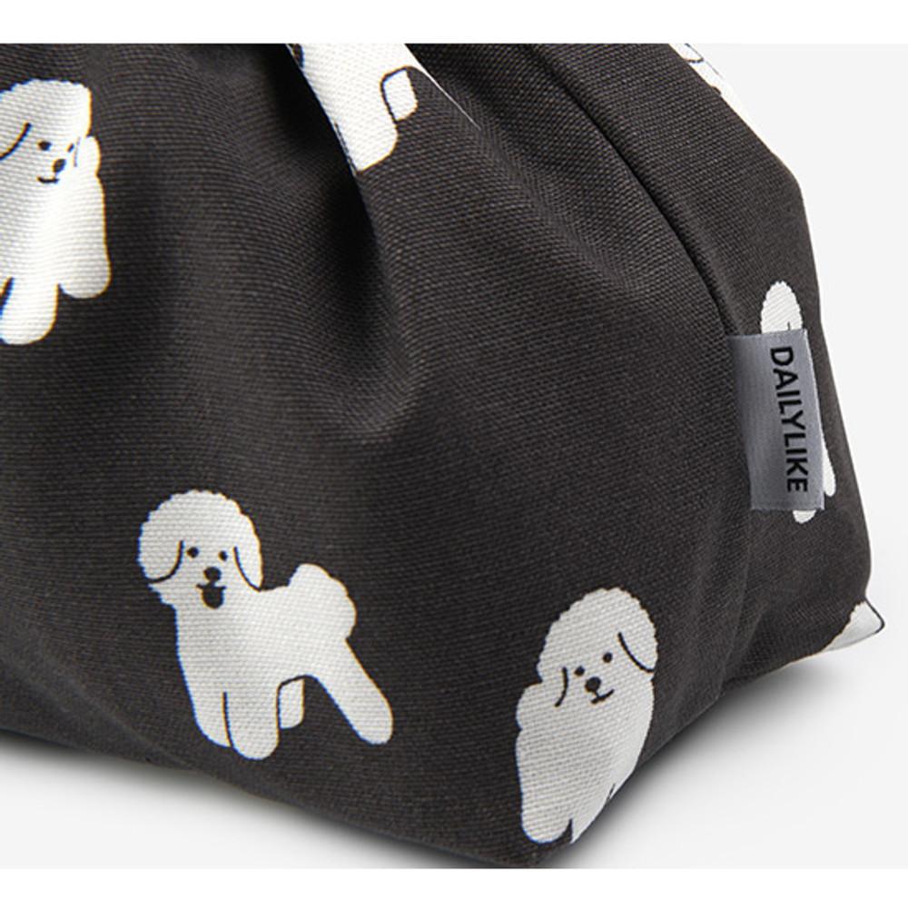 Detail of Dailylike Bichon Frise soft oxford cotton bucket drawstring pouch