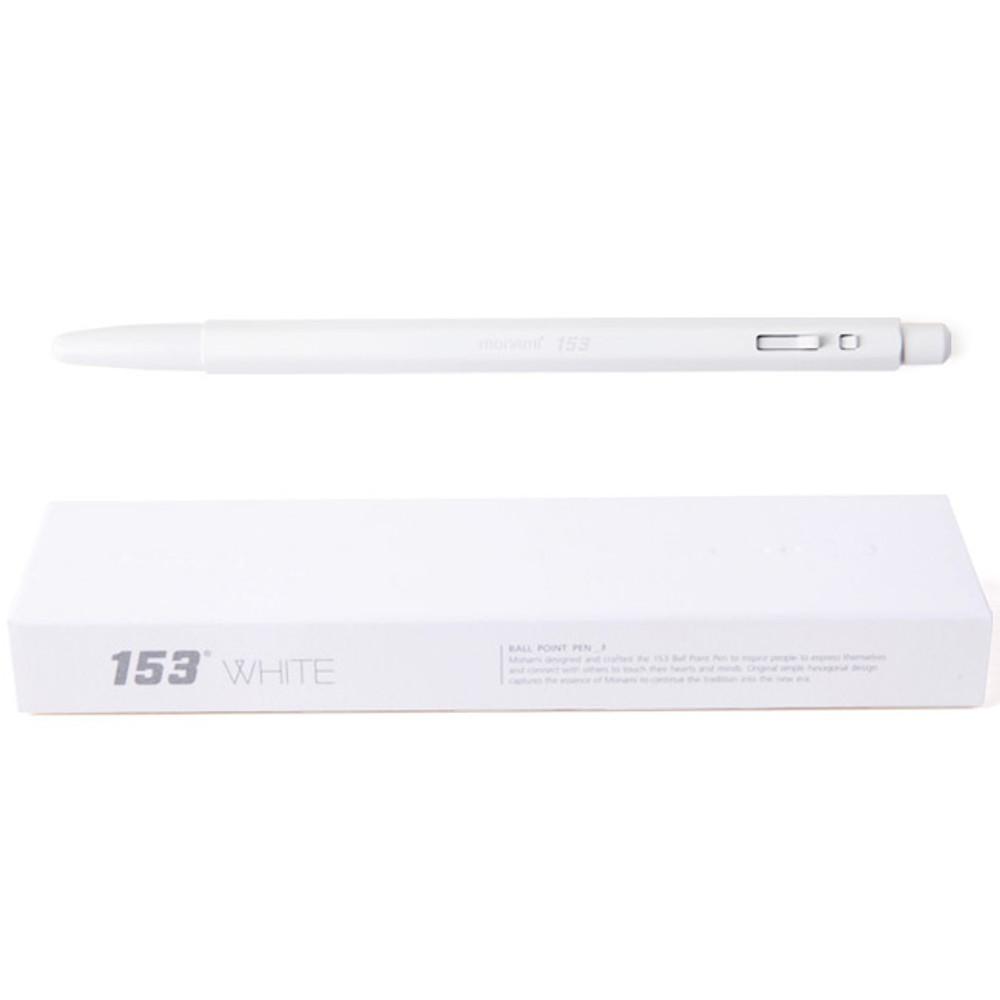 White - MONAMI 153 black and white knock retractable ballpoint pen