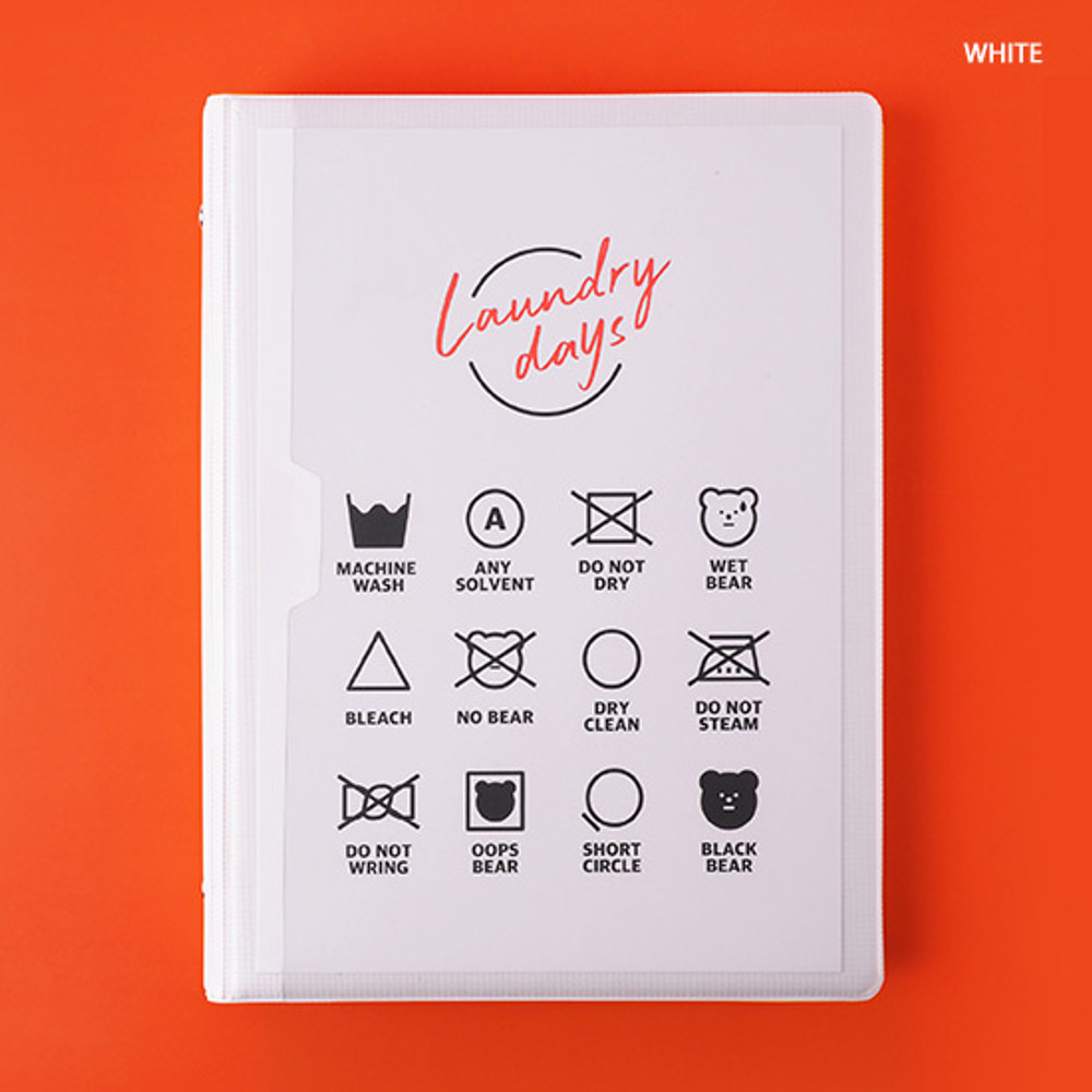 White - Rihoon Neon laundry hardcover 6-ring grid notebook