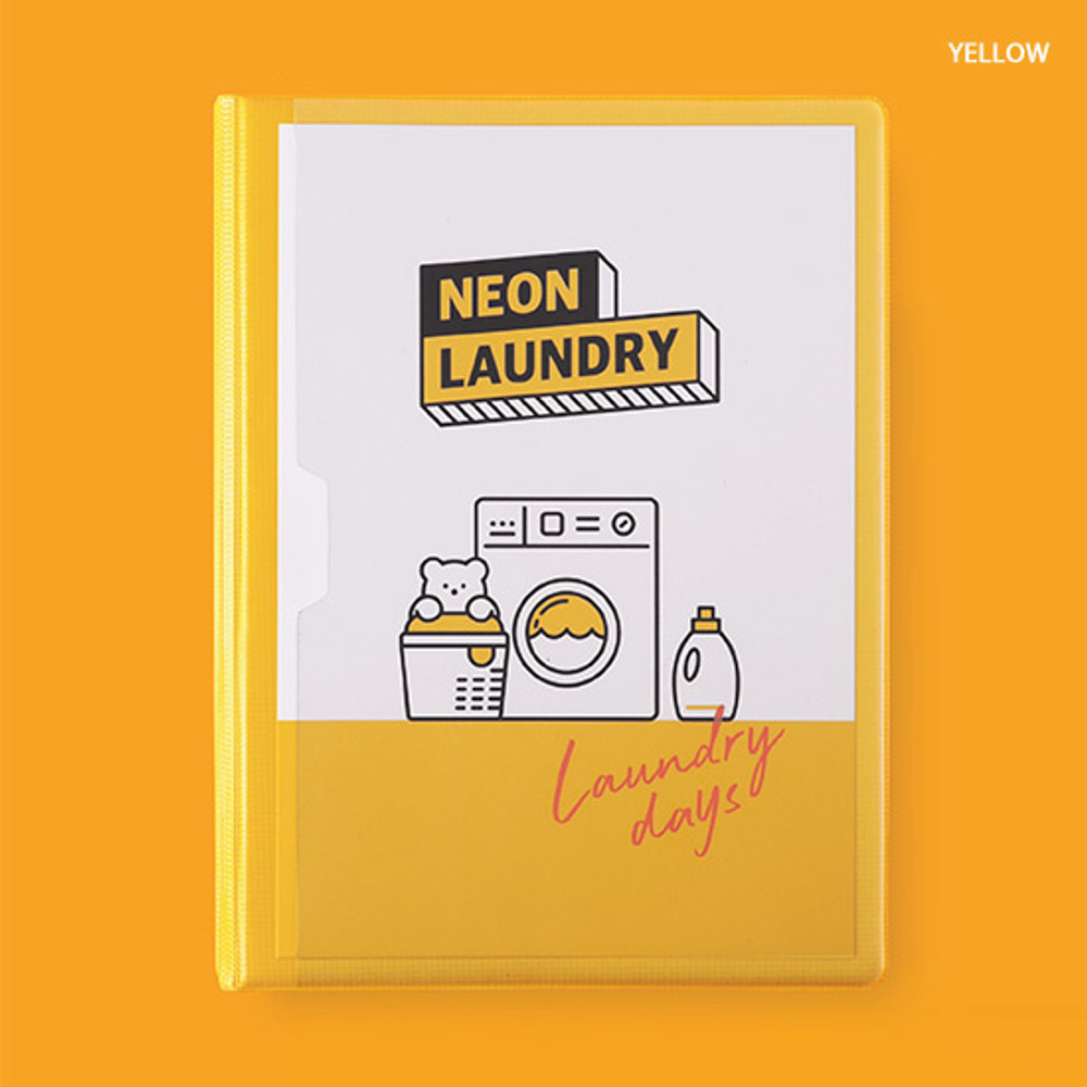 Yellow - Rihoon Neon laundry hardcover 6-ring grid notebook