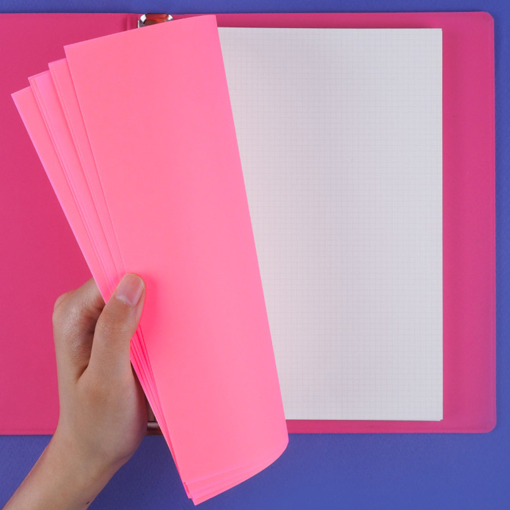 Neon page and grid page - Rihoon Neon laundry hardcover 6-ring grid notebook