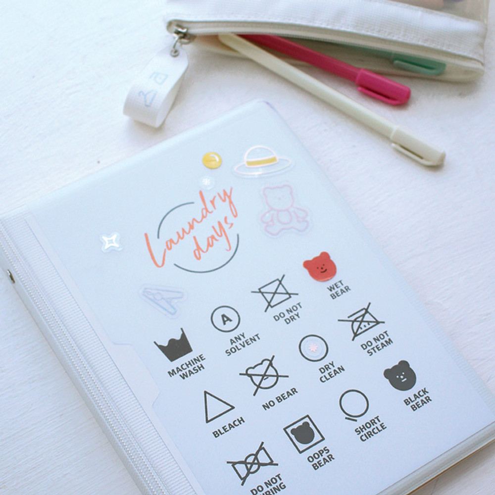 Rihoon Neon laundry hardcover 6-ring grid notebook