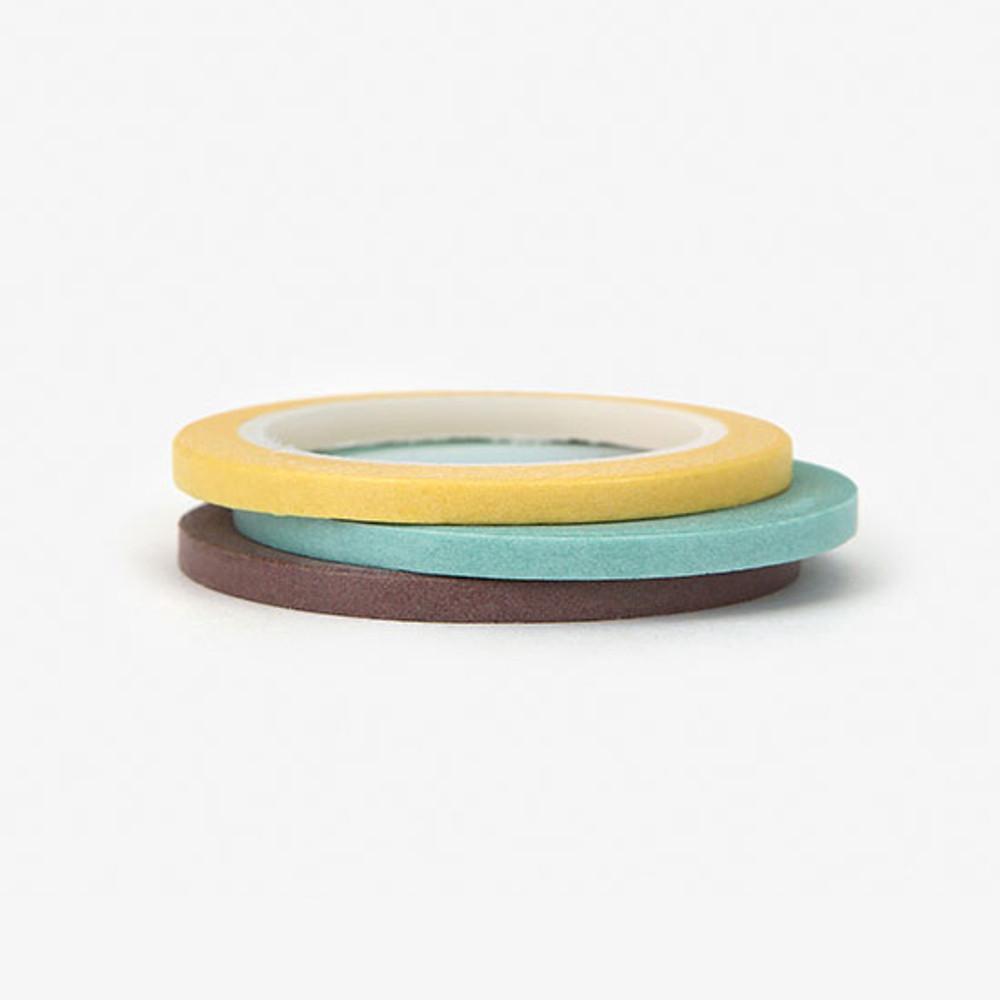 Dailylike Pastel2 3mm deco masking tape 3p set