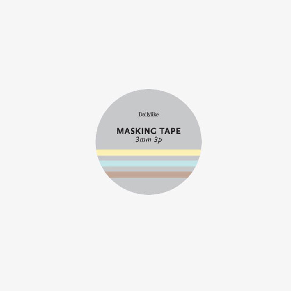 Package of Dailylike Pastel2 3mm deco masking tape 3p set
