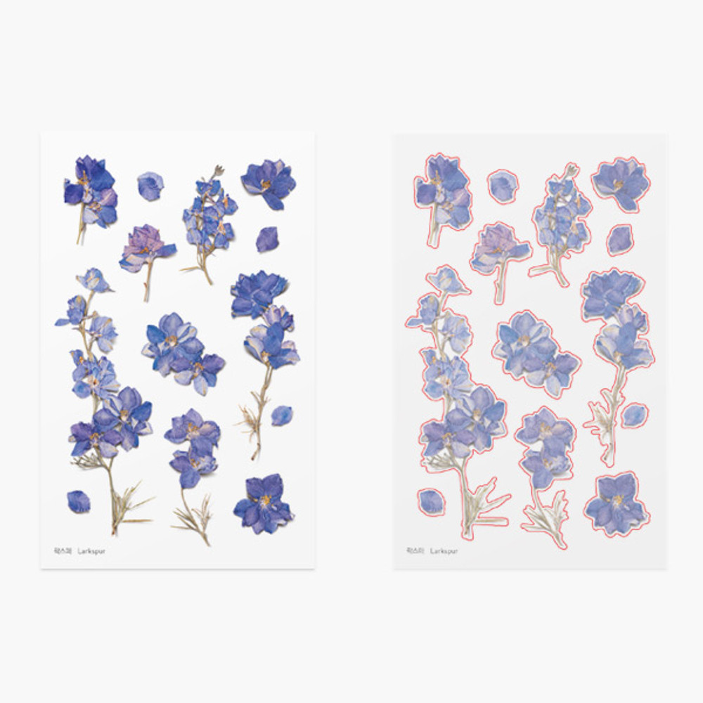 Appree Larkspur press flower stickers