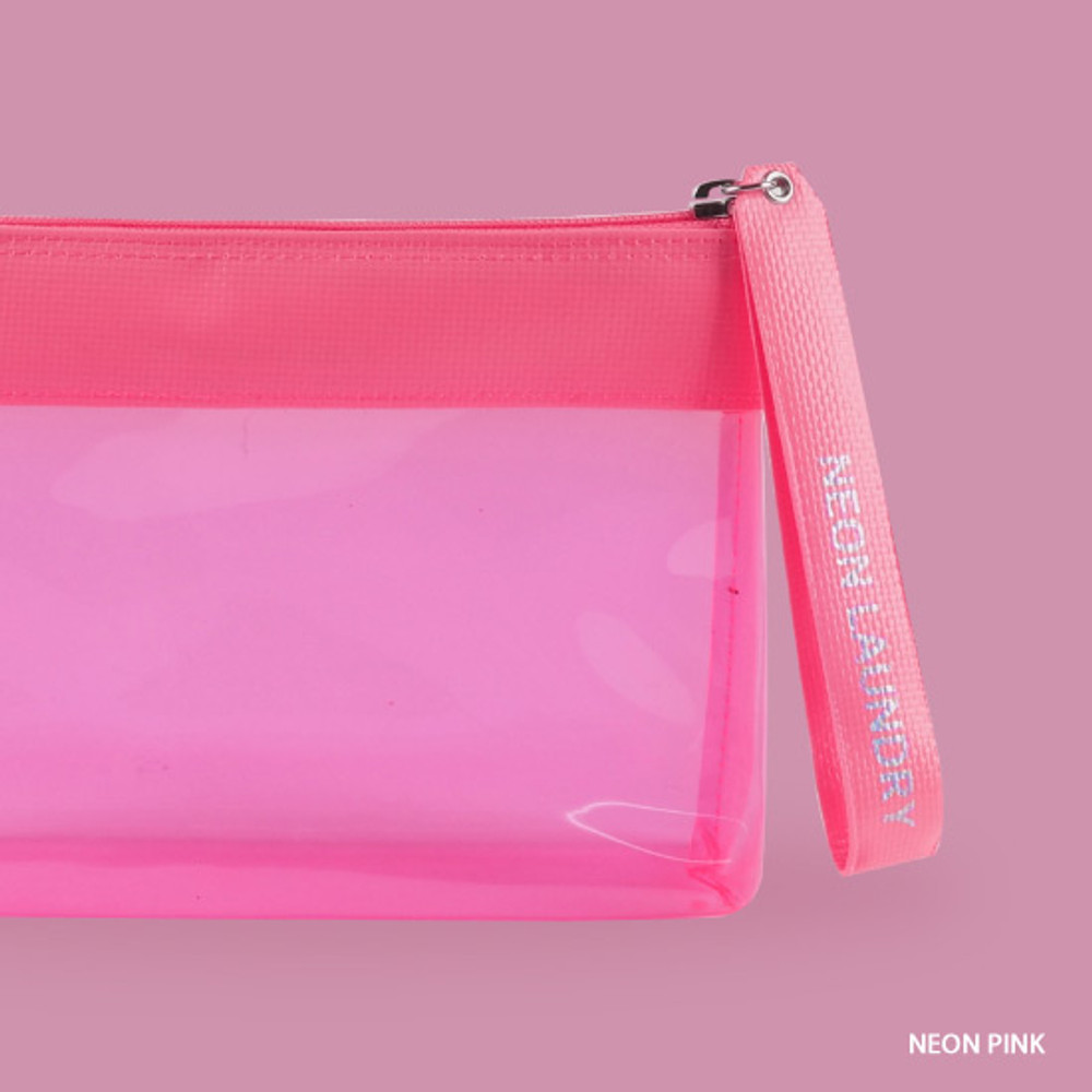 Neon pink - Rihoon Neon laundry large clear zipper pouch with strap
