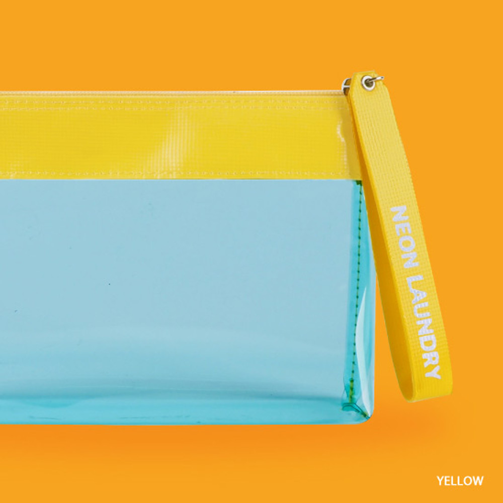 Yellow - Rihoon Neon laundry large clear zipper pouch with strap
