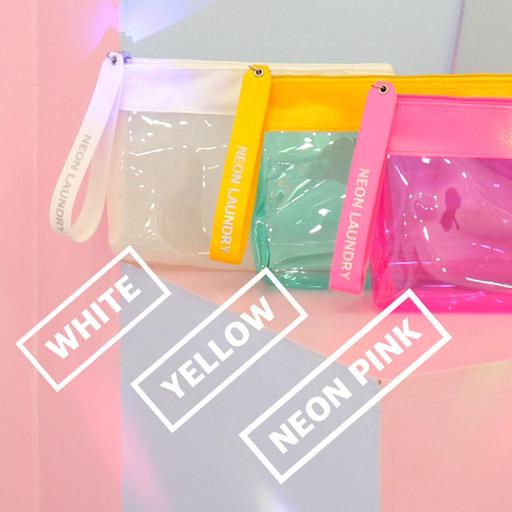 Color - Rihoon Neon laundry large clear zipper pouch with strap