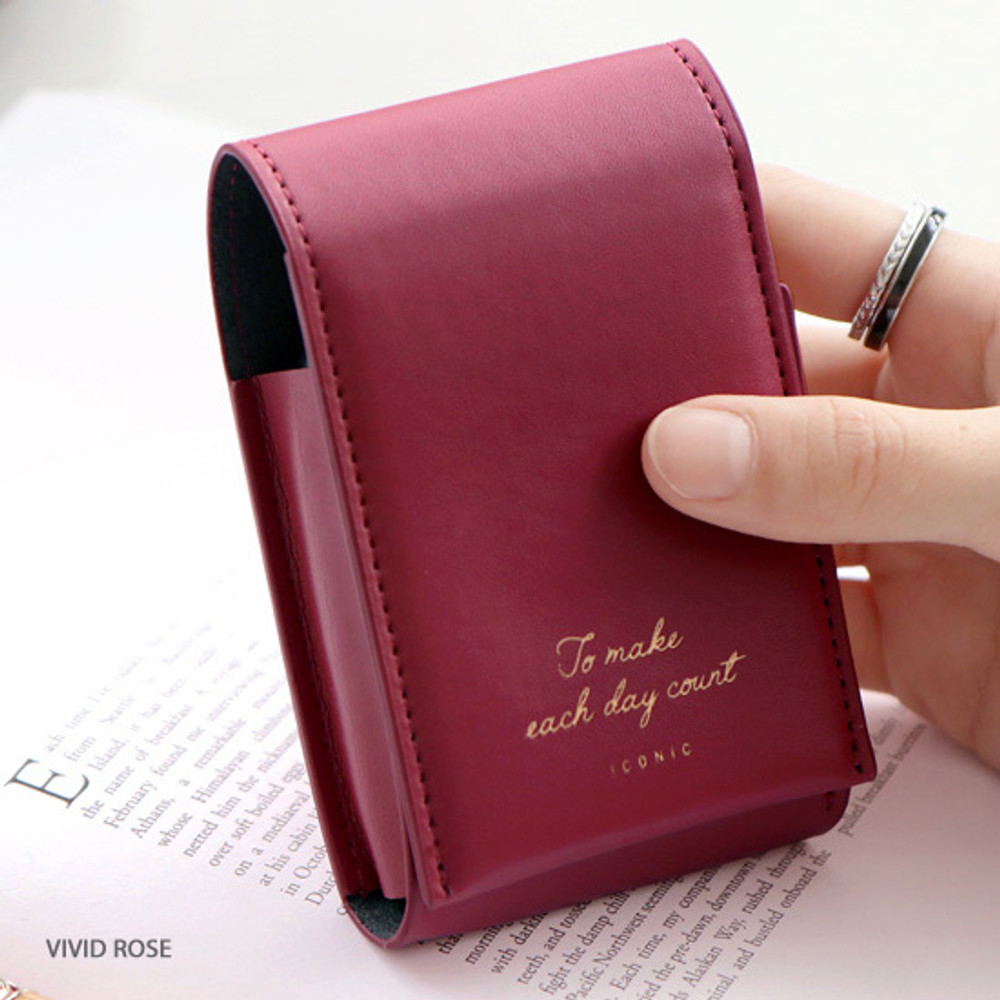 Vivid rose - ICONIC Slit lipstick cosmetic pouch case with mirror