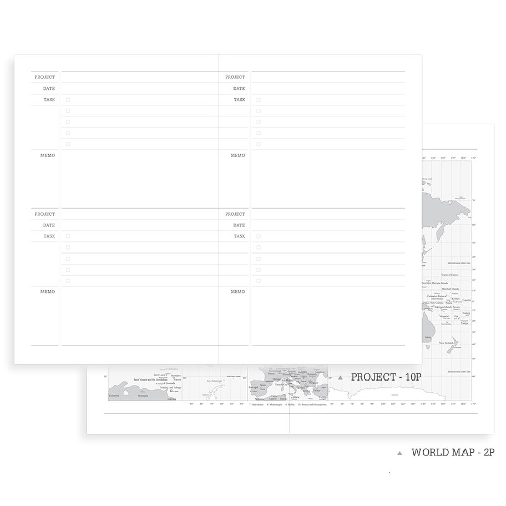 Project note and world map - Indigo 2020 Official soft dated weekly planner notebook