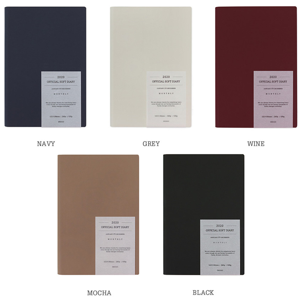 Color - Indigo 2020 Official soft dated weekly planner notebook