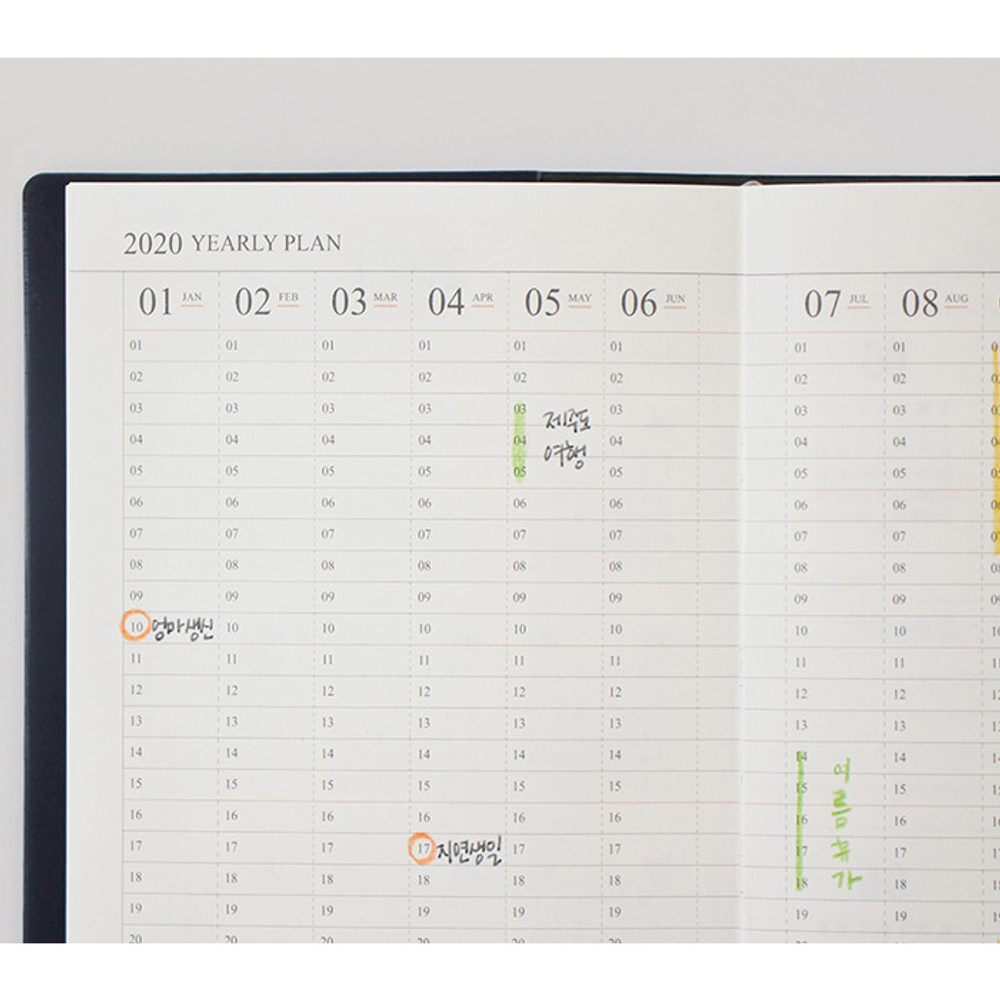 Yearly plan - Indigo Official slim dateless weekly planner notebook