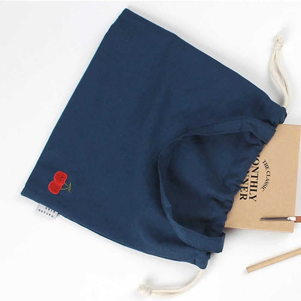 Cherry - Wanna This Tailorbird embroidered medium drawstring pouch