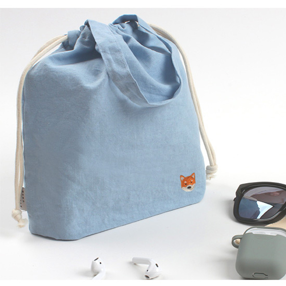 Shiba dog - Wanna This Tailorbird embroidered medium drawstring pouch