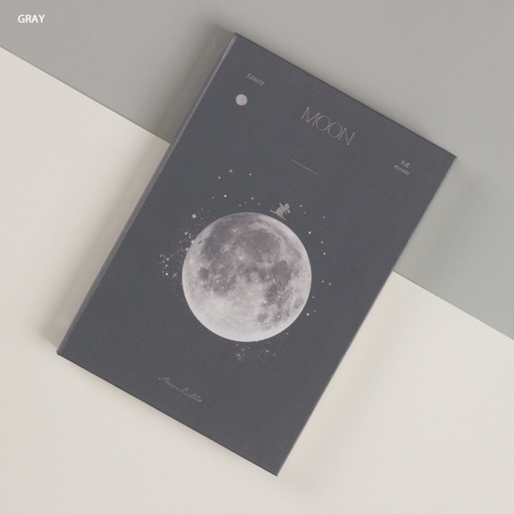 Gray full moon - Dash And Dot Moon special undated weekly diary journal