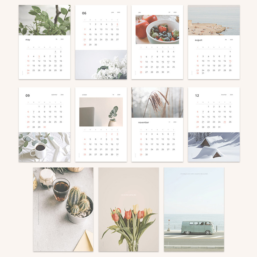 Composition - Dash and Dot 2020 Slow life monthly wall calendar