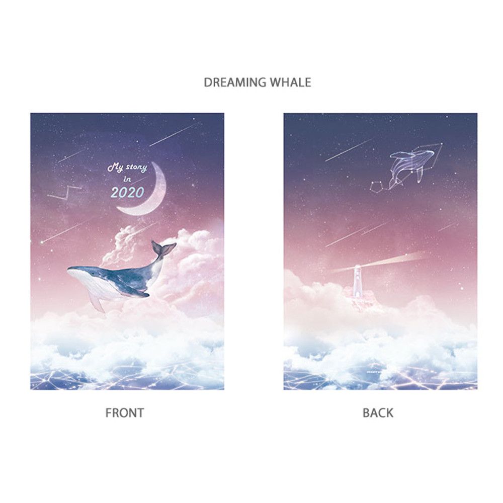 Dreaming whale - PLEPLE 2020 My story illustration dated weekly diary ver5