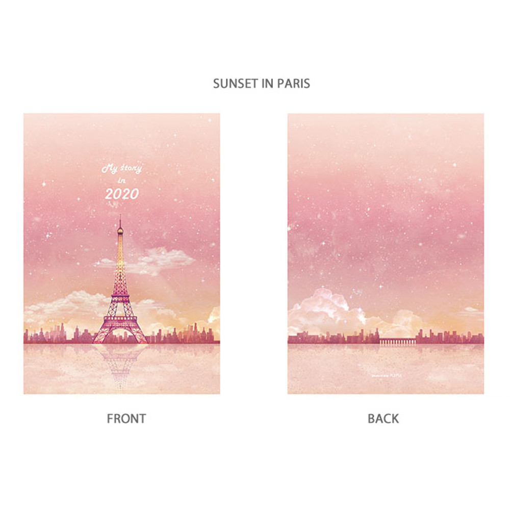 Sunset in Paris - PLEPLE 2020 My story illustration dated weekly diary ver5