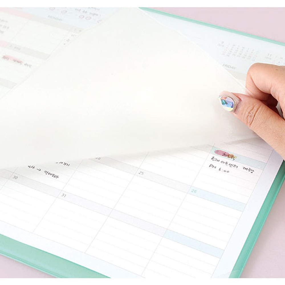 Translucent PVC cover - 2020 Desk mat with dated monthly planner