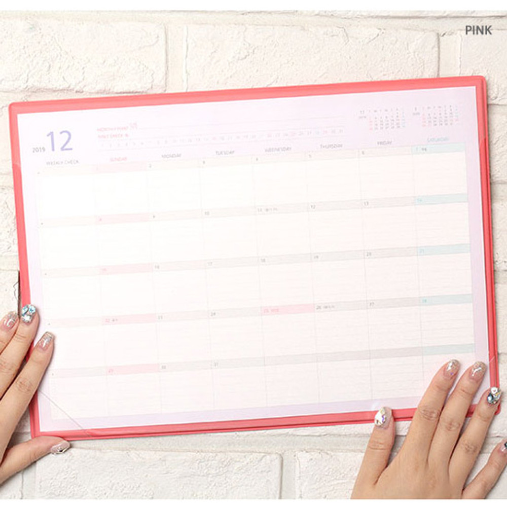 Pink - PLEPLE 2020 Desk mat with dated monthly planner