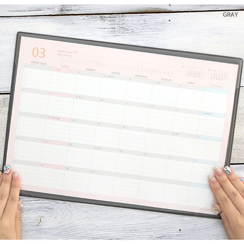 Gray - PLEPLE 2020 Desk mat with dated monthly planner