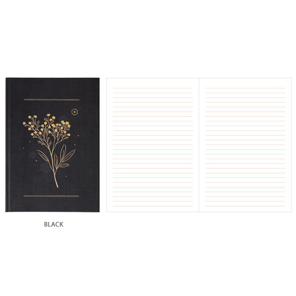 Black - Livework Korean poetry large hardcover lined grid notebook