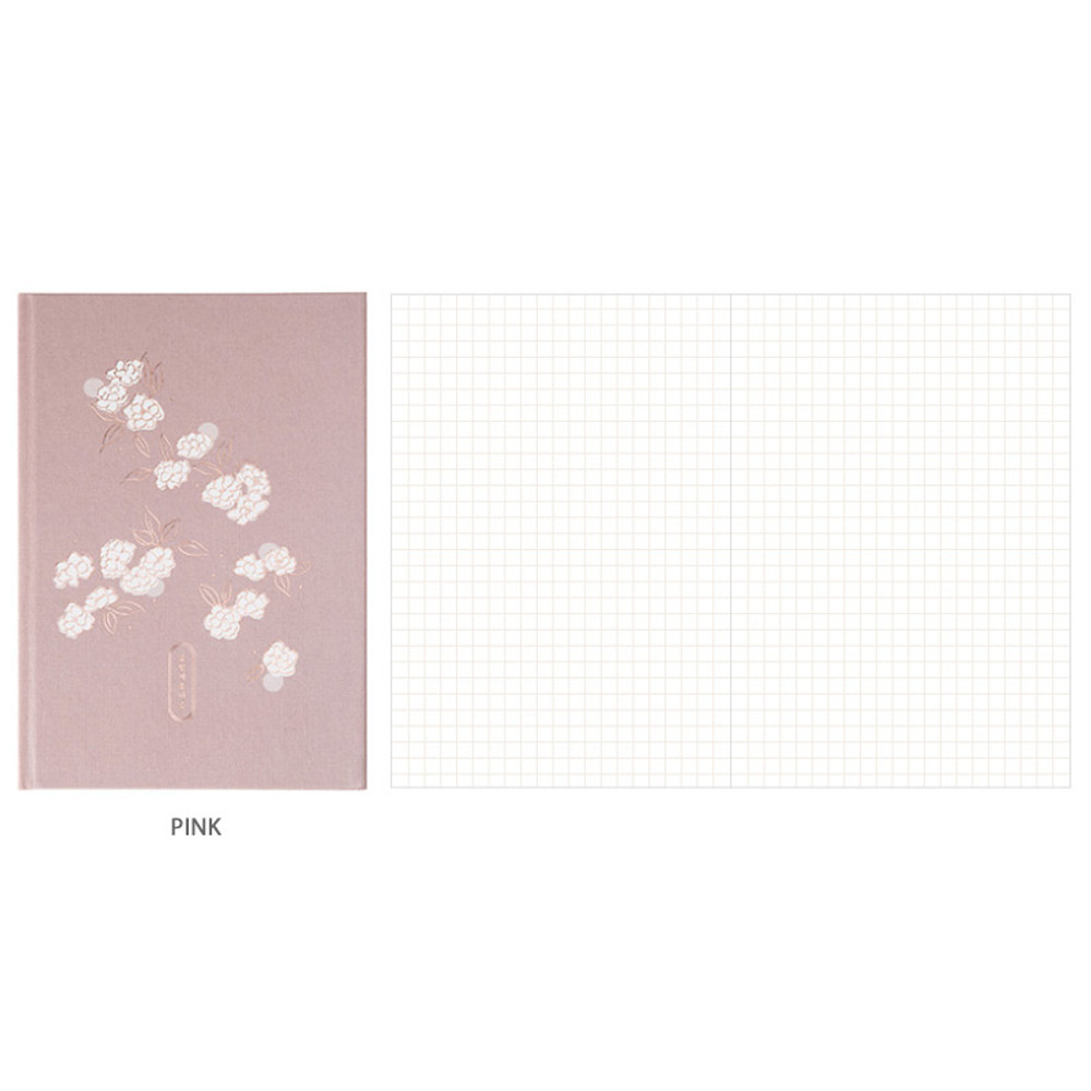 Pink - Livework Korean poetry large hardcover lined grid notebook