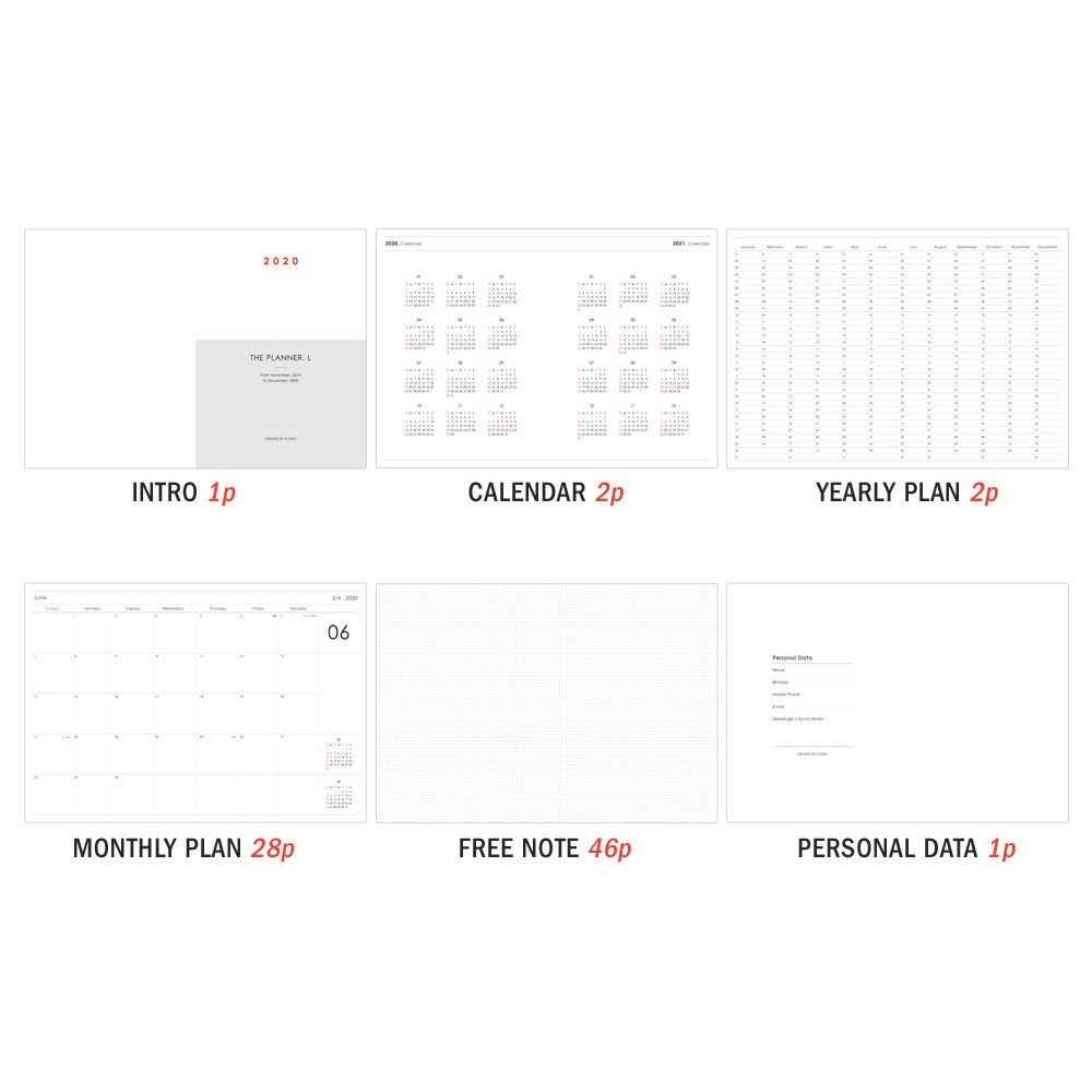 Planner section - ICONIC 2020 Simple large dated monthly planner scheduler