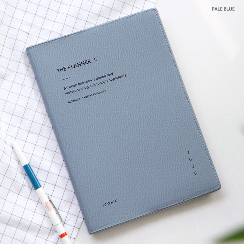 Pale blue - ICONIC 2020 Simple large dated monthly planner scheduler