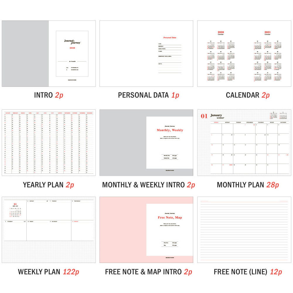 Planner section - ICONIC 2020 Journal Journey dated weekly planner scheduler
