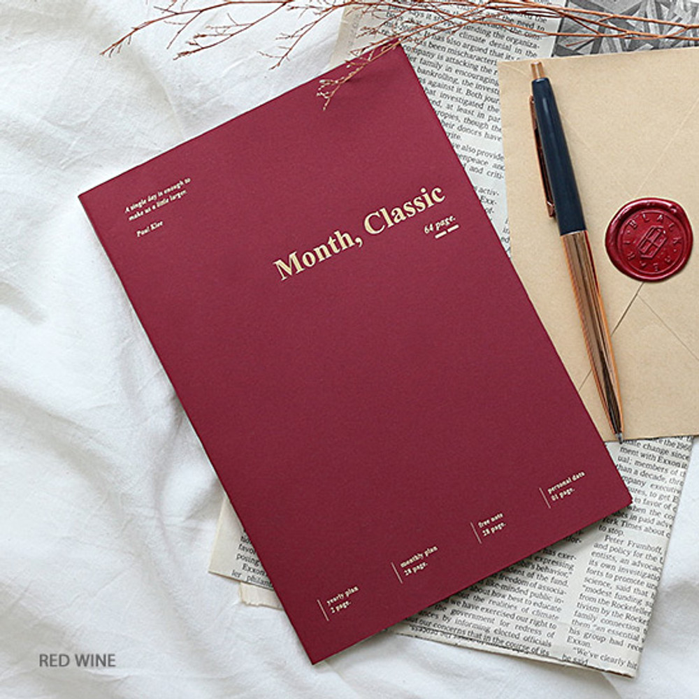 Red wine - Wanna This 2020 Month classic small dated monthly planner