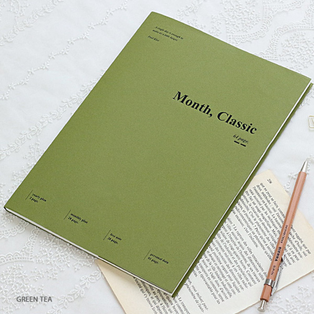 Green tea - Wanna This 2020 Month classic large dated monthly planner