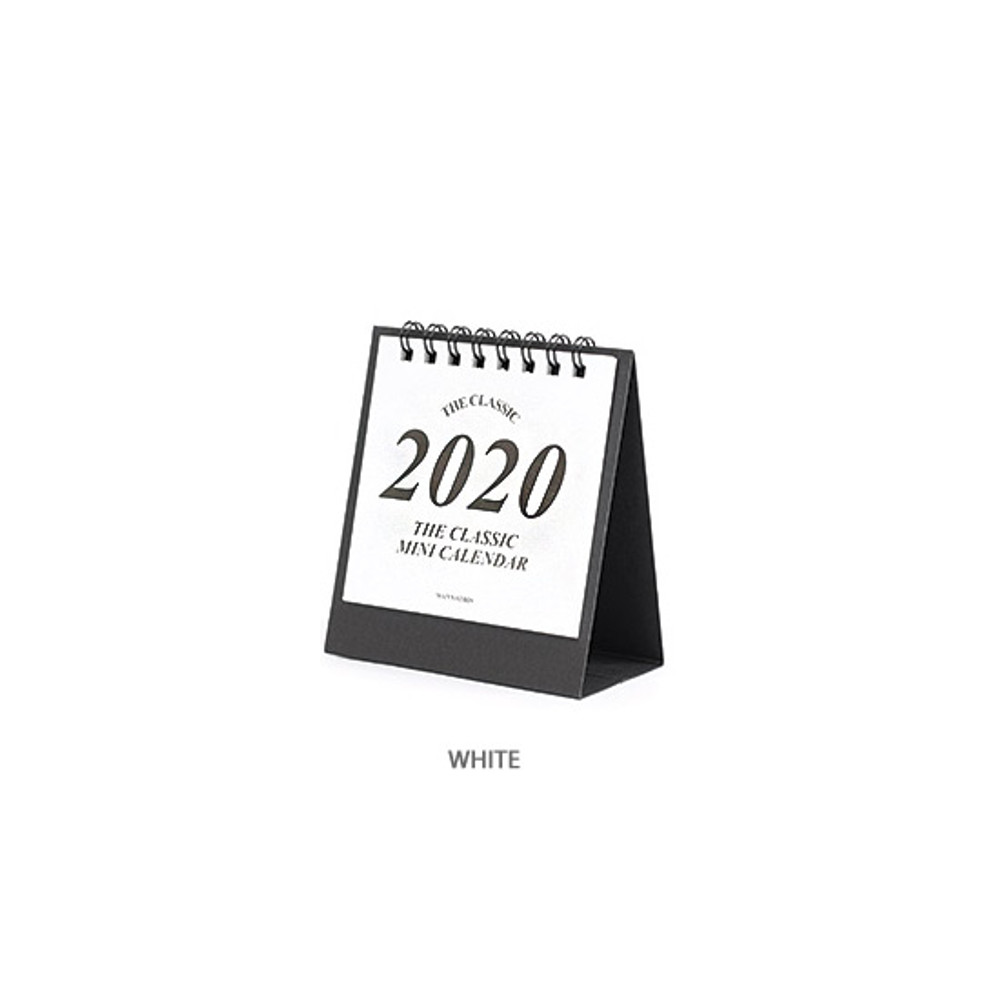 White - Wanna This 2020 Classic small spiral bound desk calendar