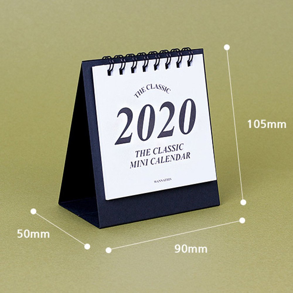 Size - Wanna This 2020 Classic small spiral bound desk calendar