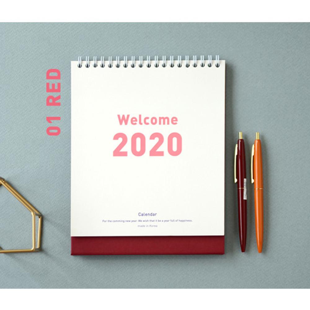 Red - Jam studio 2020 Welcome standing desk flip calendar