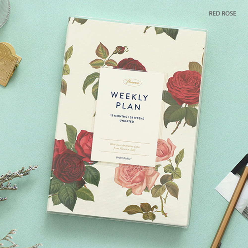 Red rose - PAPERIAN Florence dateless weekly diary agenda planner
