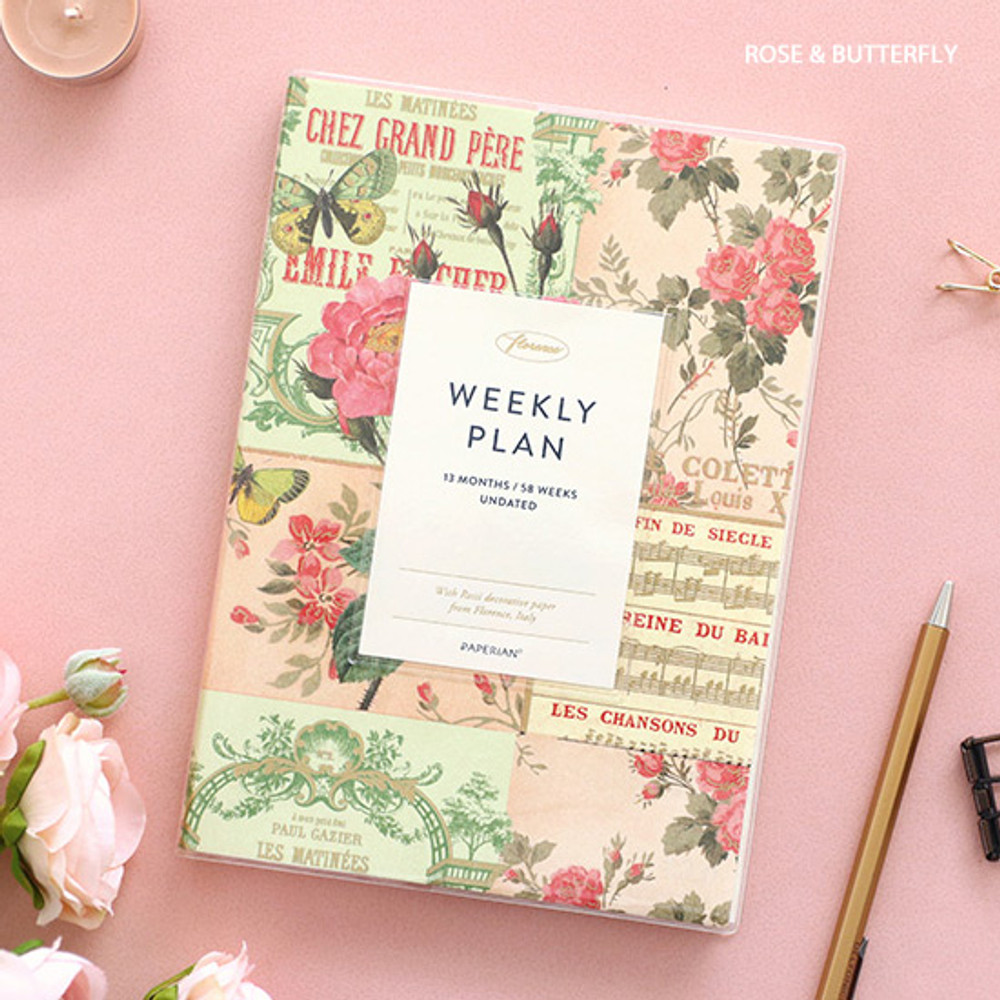 Rose & Butterfly - PAPERIAN Florence dateless weekly diary agenda planner