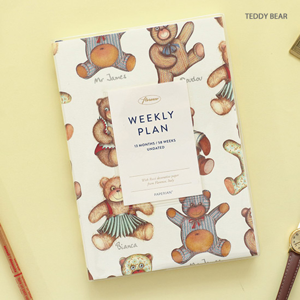 Teddy bear - PAPERIAN Florence dateless weekly diary agenda planner
