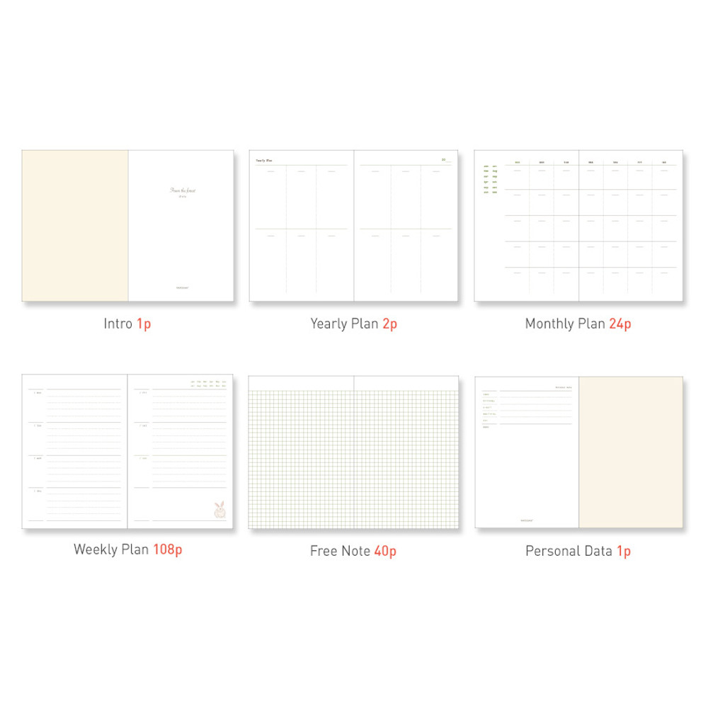 Planner section - PAPERIAN From the forest dateless weekly diary planner