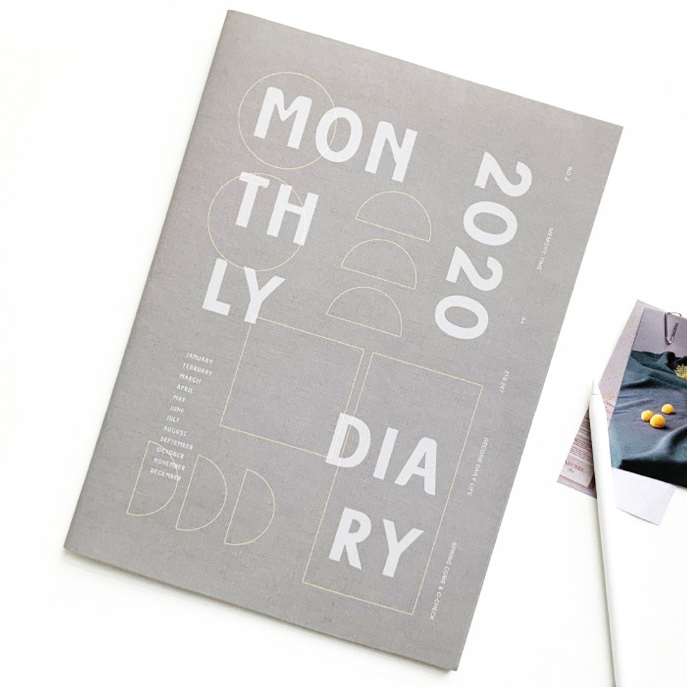 Gray - O-CHECK 2020 Spring come A4 dated monthly planner
