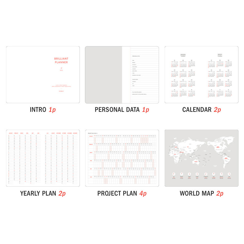 Planner section - ICONIC 2020 Brilliant dated daily planner scheduler