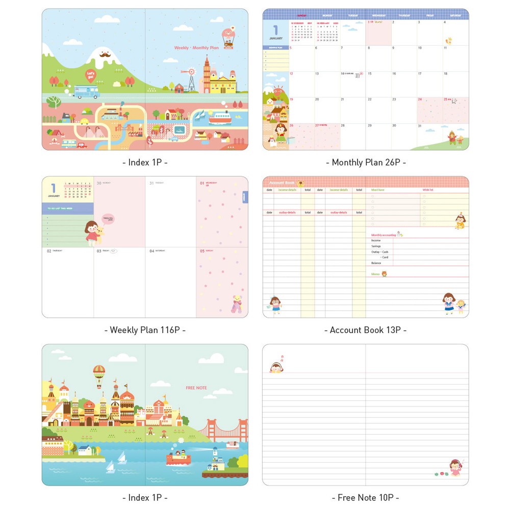 Planner section - Ardium 2020 Hello coco dated weekly diary planner
