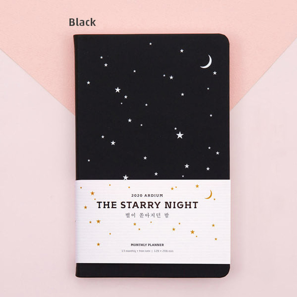 Black - Ardium 2020 The starry night dated monthly diary planner