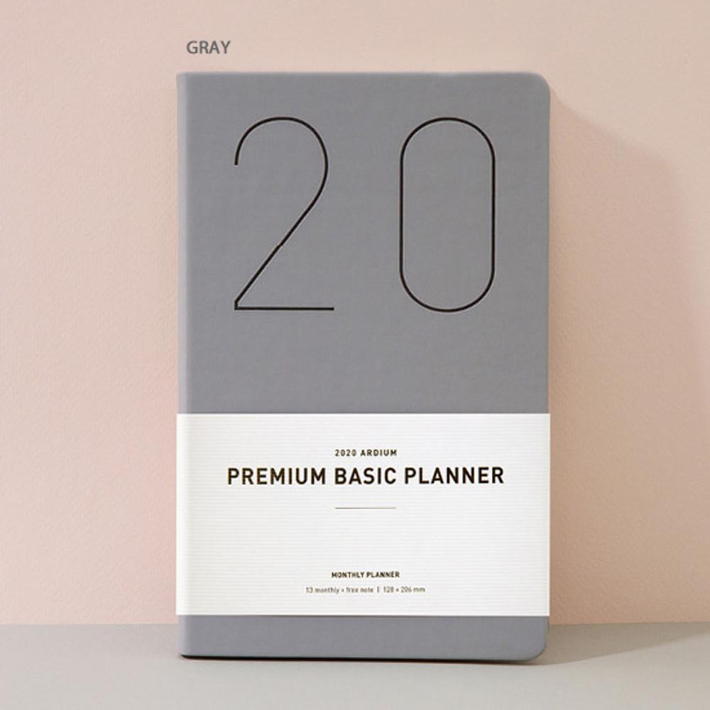 Gray - Ardium 2020 Premium basic dated monthly diary planner