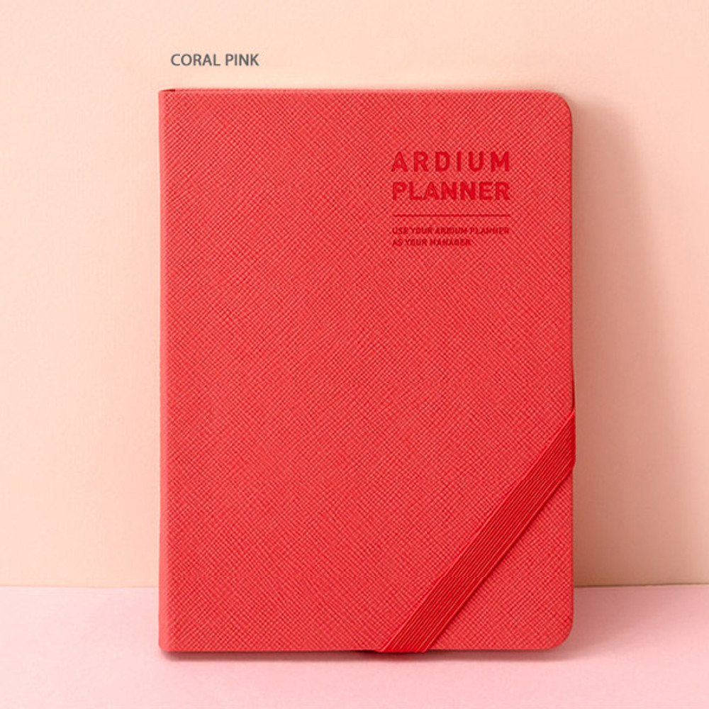 Coral pink - Ardium 2020 Simple small dated weekly diary planner