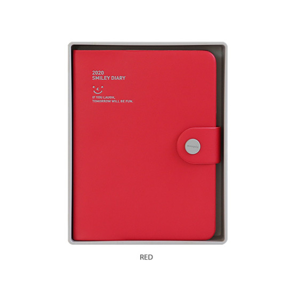 Red - Monopoly 2020 Smiley dated daily diary with tray