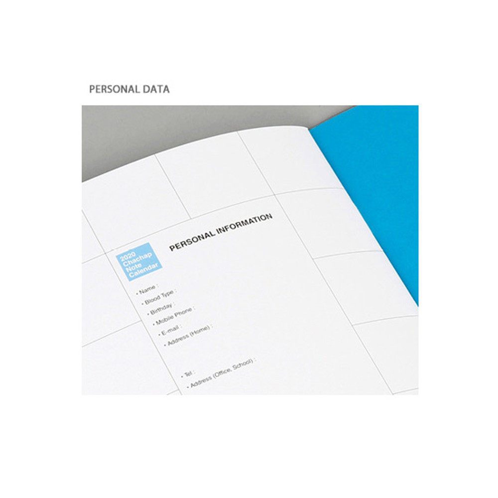 Personal data - Chachap 2020 Note dated monthly planner scheduler