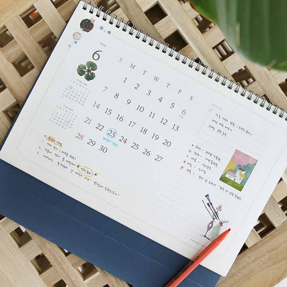 Back - 2020 Little prince dated monthly desk scheduler planner
