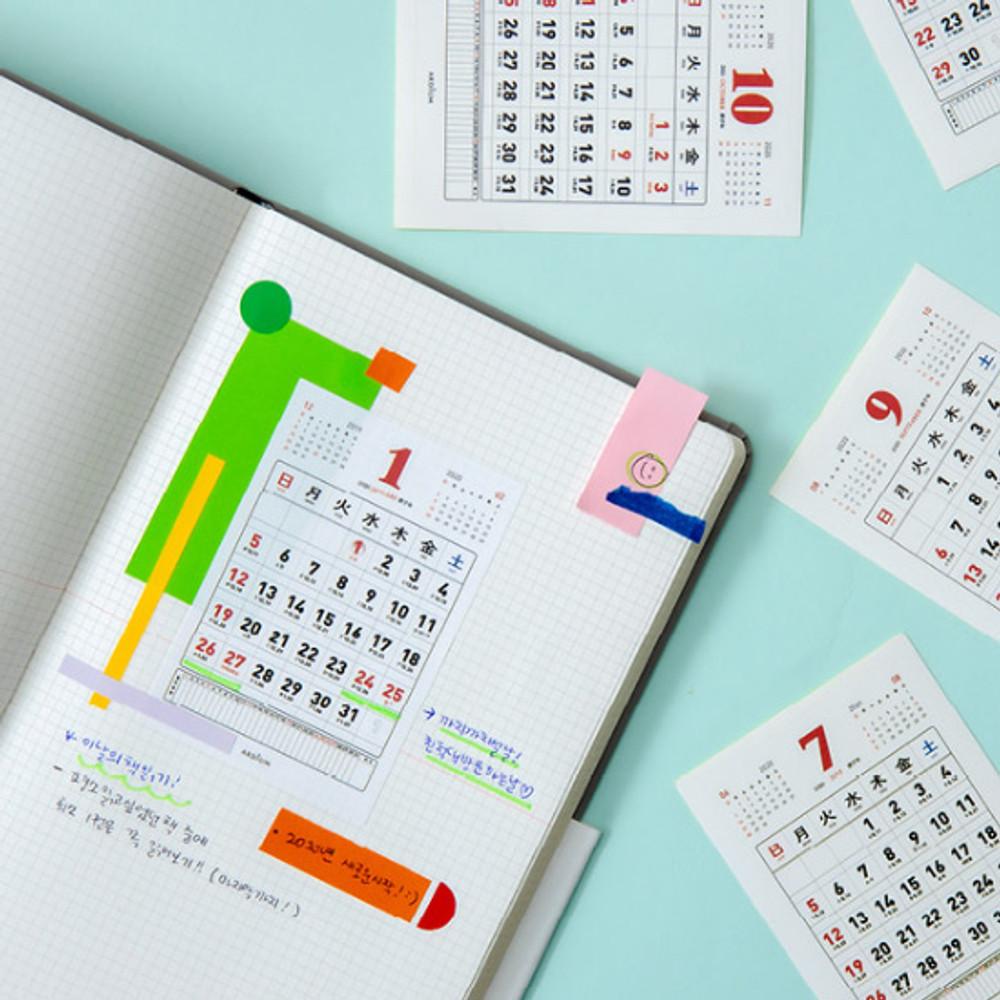 Usage example - Ardium 2020 Memories small monthly calendar sticker