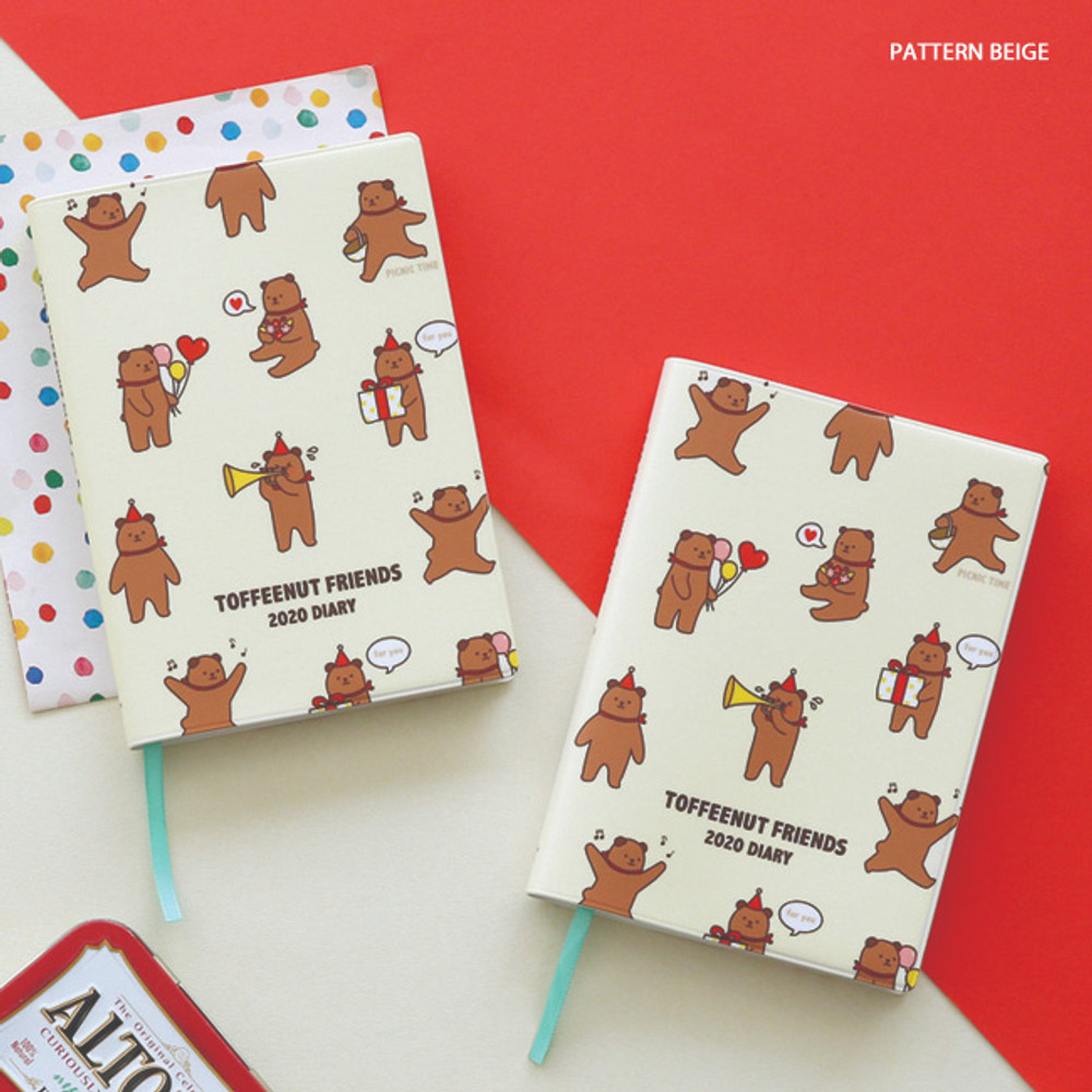 Pattern beige - Monopoly 2020 Toffeenut friends dated weekly diary planner